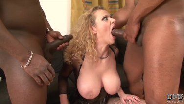 Milf fucked hard by two black guys in her ass and pussy - duration 10:09