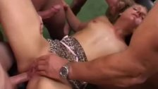 Wild babe gets group hard sex with many cocks