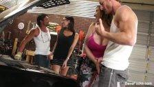 Busty hotties Dava & Sara fuck the mechanics