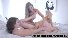Very young lesbian threesome with double dild