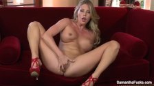Super hot Samantha Saint fingers her pussy - duration 8:18