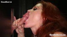 Gloryhole Secrets Redhead Gilf swallows cum