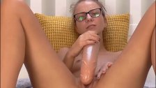 Tiny Cute Teen Playing With Huge Rubber Cock