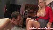 Busty Milf Julia Ann makes Foot Boy Lick Her Feet!