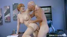 Naughty ginger bimbo gets pounded at work Brazzers
