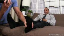 Inked Latino yuppie Rico Romero enjoys his feet being licked