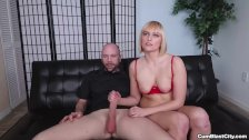 Blonde chick gets splattered with cum - duration 6:39