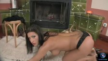 Beauty Nikki Rider alone and horny in front of the fire - duration 8:04