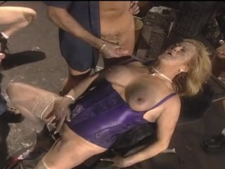 Blonde Mature Gangbang In The Dirty Garage