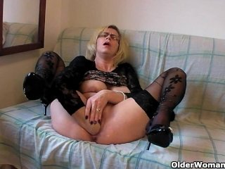 Slut In Stockings Fists Her Hairy Vagina