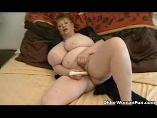 Fat Grandma Toying With Huge Breasts