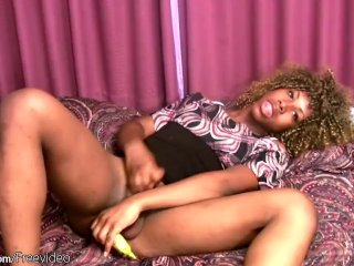 Black Shemale Plays Her Tight Ass With Banana