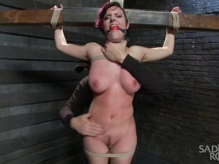 Young Slut With Huge Natural Tits Is Destroyed By Grueling Bondage.