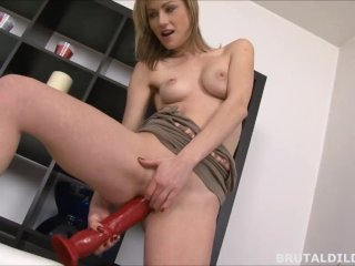 Skinny Russian Rides And Squirts On A Brutal Dildo