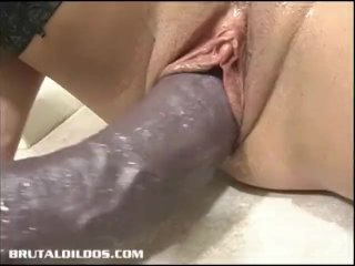 Busty Blonde In Thighs Loves A Massive Brutal Dildo