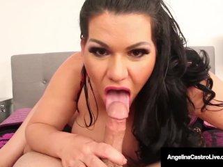 Huge Boobed Latina, Angelina Castro Strokes & Amp; Sucks A Cock!