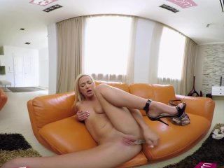 Vrbangers-Teen Vinna Reed Playing With A Big Glass Dildo