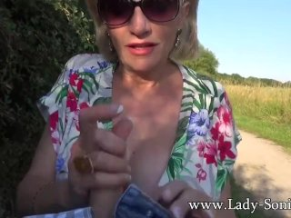 British Milf Sonia Shows Her Tits In Public And Sucks Cock On By-Road