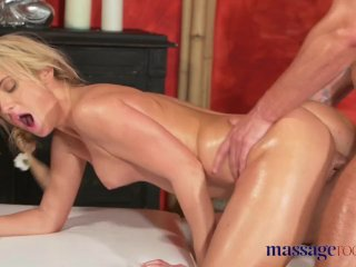 Massage Room Blonde Gets Fucked And Creampied By Girl's Friend