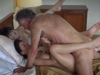 Old Young Porn Threesome With Small Teen Pussy Fucked Hard And Orgasm