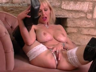 Blonde Milf With Big Tits Fingering Pussy In Slutty Leather Boots Fishing Nets