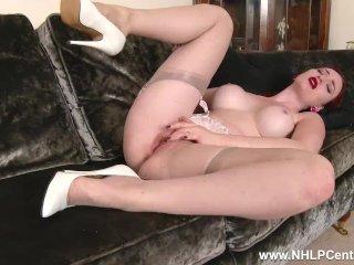 Busty Redhead Zara Dureen Masturbates In Her Lingerie Sheer Vintage Nylons