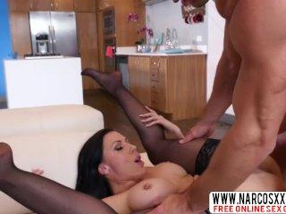 Brunette Stepmom Rachel Rigid In Stockings Gets Iron Cock