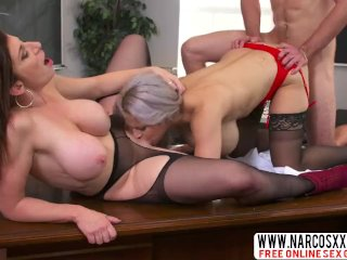 Talented Mother In Law Alyssa Lynn And Sara Jay, Threesome In Stockings