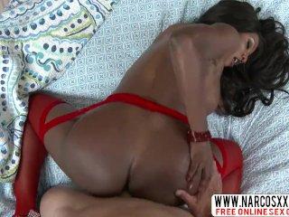Nasty Step Mother Diamond Jackson Ebony In Stockings Needs Perfect Cock