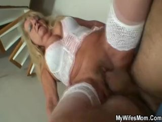 Blonde Granny In White Lingerie Pleases Son In Law