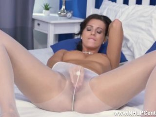 Brunette Vicky Love Finger Masturbates To Orgasm In Soft Nylon Pantyhose
