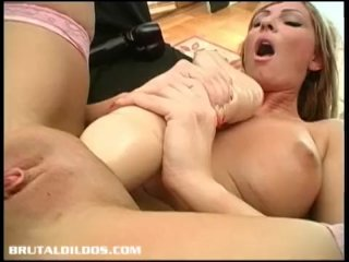 Russian Amateur Bangs Her Pussy Raw With A Huge Dildo
