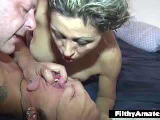 Orgy With 3 Mature Whores! Anal And Saliva!