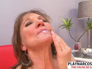 Beautiful Girlfriend Mum Donna Davidson Gives Titjob Hard Teen Step-Son