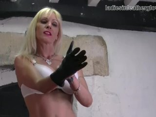Blonde Milf Strips Sexy White Lingerie Finger Pussy In Leather Gloves