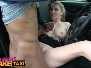 Woman Fake Taxi Backseat Blowjob By Busty Blonde Driver For Happy Stud