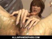 Gorgeous Rika Sakurai with a mouthful