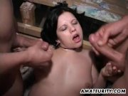Busty girlfriend in a foursome with facials