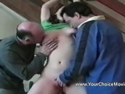Homemade sex with busty amateur and two men