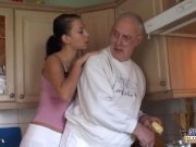 Brunette licks oldman all over and fucks him