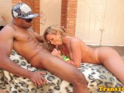 Seductive tgirl fucked with bbc outdoors