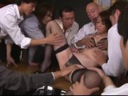 Maki Hojo gangbang sex in rough office scenes