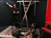 Ebony slave Harmony in strict BDSM punishment and black submissives kinky