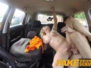 Fake Driving School Posh horny busty examiner swallows a big load