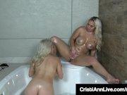 Latinas Cristi Ann & Nina Kayy Get Oiled Up In The Hot Tub!