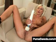 Busty Blonde Bombshell Puma Swede Finger Bangs Her Wet Pussy  Description: