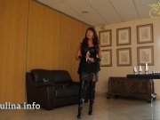 German Mature Herrin Carmen Buttplugset fuer Sissy Training Leather Boots