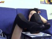Italian Brunette nylon feet masturbation instruction