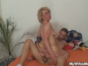 She finds her old mom riding husband's cock