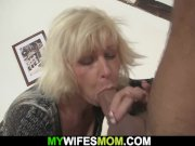 Blonde mother inlaw lures him into sex